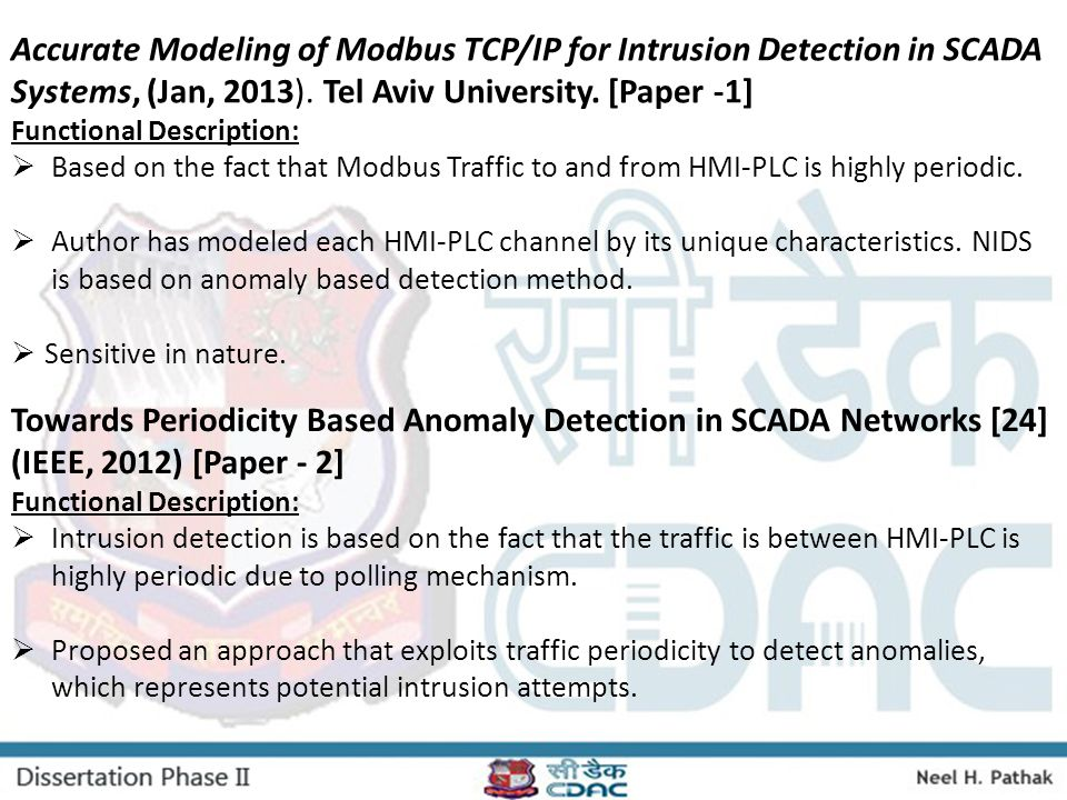 Accurate Modeling of Modbus TCP/IP for Intrusion Detection in SCADA Systems, (Jan, 2013). Tel Aviv University. [Paper -1]